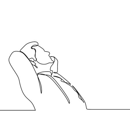 One line art drawing of a man feeling something that make him desperate, maybe lost his job or thinking to raise up his business. Vector illustration minimal design. Stockfoto - 128955484
