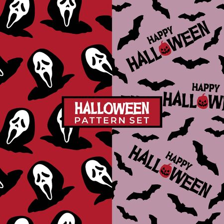 Happy halloween seamless pattern bat and grim reaper. Vector illustration for fashion textile, wrapping, and print.