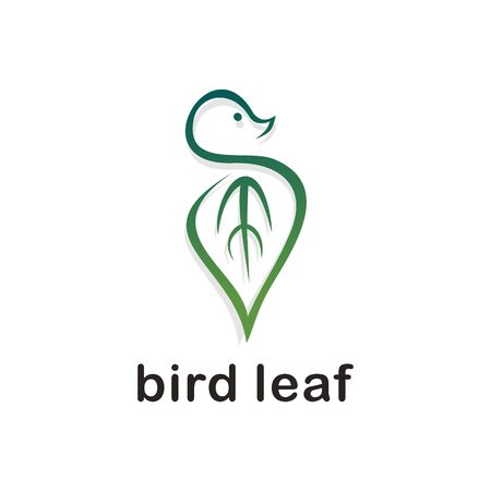 Bird leaf logo vector. Green gradient color isolated on white background.  イラスト・ベクター素材