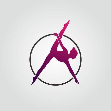 Icône du logo aérien avec des couleurs violettes. Fille modèle avec cerceau font la police A.