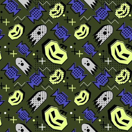 Trendy pumpkins and candy halloween seamless pattern. Vector illustration for print and baby fashion.