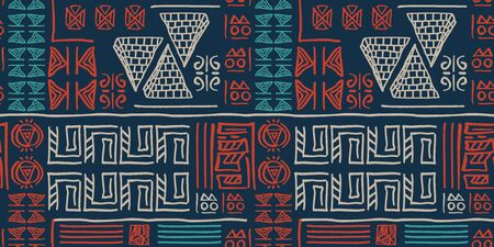 Tribal pattern vector with seamless egyptian symbol ancient style. Vintage illustration background for fashion textile print and wrapping. Standard-Bild - 128955973