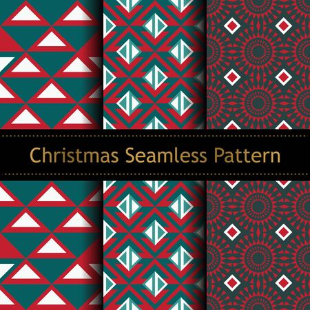 Geometric christmas seamless pattern set collections vector illustration.