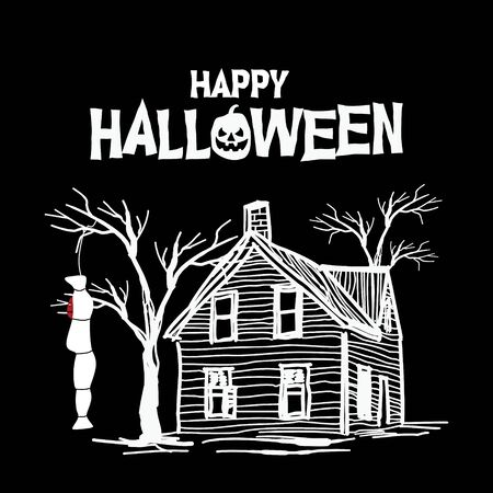 Happy halloween creepy house. Poster and banner vector illustration event for november, october, and december.