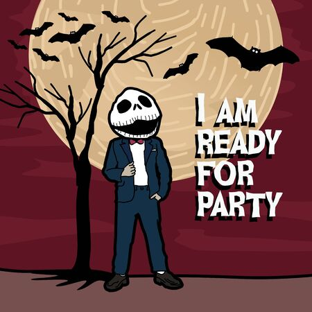 Happy halloween. i am ready for halloween party. Poster and banner vector illustration event for november, october, and december. Ilustração