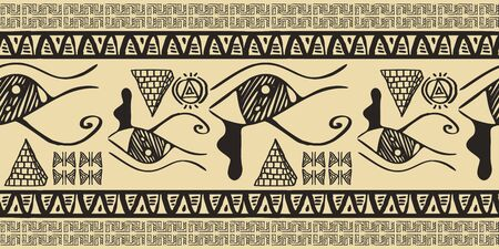 Tribal pattern vector with seamless egyptian symbol ancient style. Vintage illustration background for fashion textile print and wrapping. Standard-Bild - 128956101