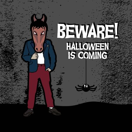 beware, halloween is coming. Poster and banner vector illustration event for november, october, and december.