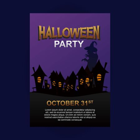 Halloween party poster template with city and witch. Ilustração