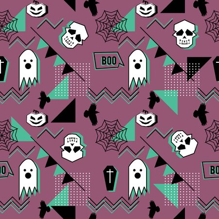 Vector trendy halloween seamless pattern with memphis geometric style of ghost, skull, spider web, and horror crow. Ilustração