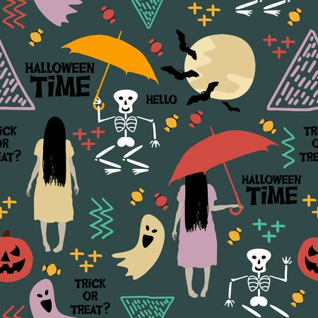 Happy halloween seamless pattern girl ghost with umbrella. Vector illustration for fashion textile, wrapping, and print.