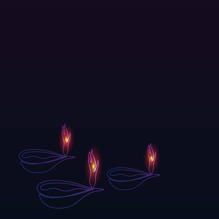 Diwali minimalist background with burning diya without text. One line art drawing with fire glowing in the dark vector illustration. Illustration