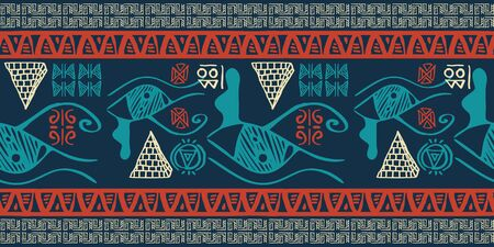 Tribal pattern vector with seamless egyptian symbol ancient style. Vintage illustration background for fashion textile print and wrapping. Standard-Bild - 128959444