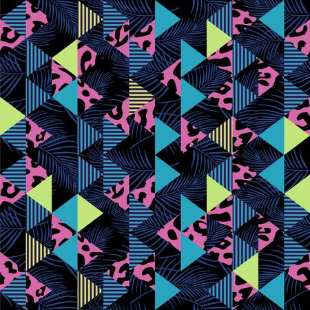 Vector seamless pattern with animal skin and triangle abstract. Geometric trendy for fashion textile print and wrapping. Illustration