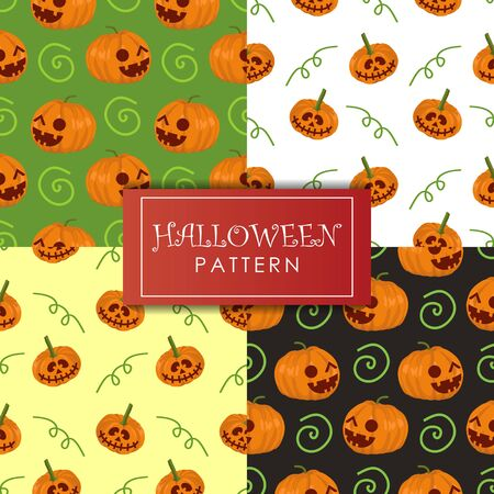 Halloween pattern vector set collections. Holiday theme with cute pumpkins background. Four seamless patterns background.
