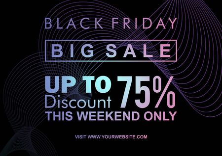 Modern black friday web banner and poster template with neon abstract geometric design. Glowing light good for electronic shopping sale. Vector illustration