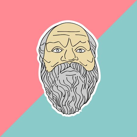 Socrates hand drawn vector isolated on pastel colors background. Trendy punchy pastels with vintage drawing ancient philosopher. Çizim