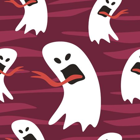 Happy halloween seamless pattern with cute ghost. Vector illustration for fashion textile, wrapping, and print. Ilustração