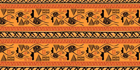 Tribal pattern vector with seamless egyptian symbol ancient style. Vintage illustration background for fashion textile print and wrapping. Standard-Bild - 128960017