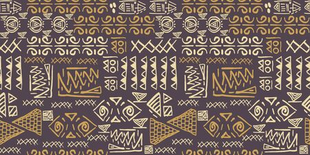 Tribal pattern vector with seamless egyptian symbol ancient style. Vintage illustration background for fashion textile print and wrapping. Banque d'images - 128960023