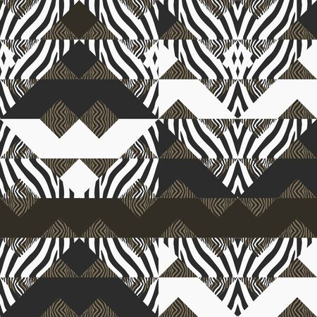Hipster vector pattern with ornament of zebra skin and triangle memphis. Creative new style modern 90s theme illustration ready for print.