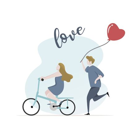 Couple in love vector illustration for valentines day card banner design. Concept of happy lovers riding a bike.