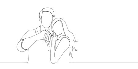 Continuous line drawing of couple being happy holding key after buying home or car. One line drawing vector illustration isolated on white background. Imagens - 128841768