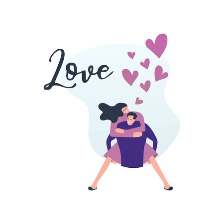 Love banner with romantic couple character vector illustration modern colorful style