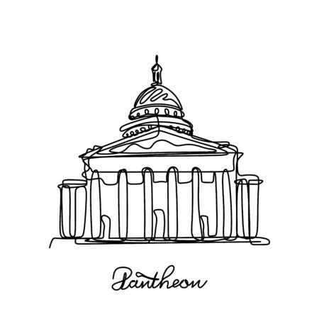 Pantheon eine Strichzeichnung Vektor-Illustration. Beliebter Ort in Paris, Frankreich.