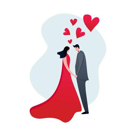Cute couple wedding vector illustration with flat design cartoon character elegant popular design