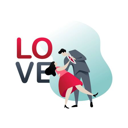Couple romantic with dress and tuxedo vector flat design. Love text modern concept fall in love of lovers valentine theme. Ilustracja