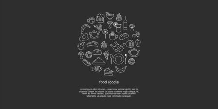 Line art vector hand drawn set of junk food cartoon doodle objects, symbols and items. Round composition