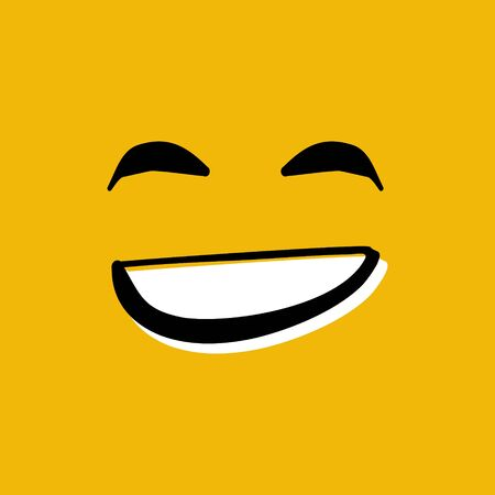 Happy smiley face hand drawn vector illustration on yellow background
