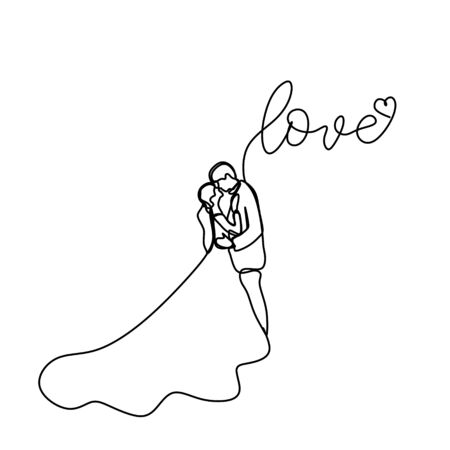 Continuous line drawing of romantic couple in weeding dress vector illustration with love text. Ilustracja