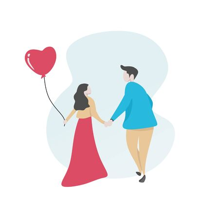 Couple in love vector illustration for valentines day card banner cute cartoon character.