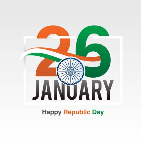 Indian Republic day banner design with text 26 January - Vector illustration