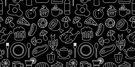 Hand drawn set of healthy food ingredient doodles seamless pattern with line art style in vector Vettoriali