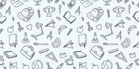 Seamless colored back to school pattern with supplies stationary and creative elements doodle drawing. Creative cute vector illustration black and white colors background.