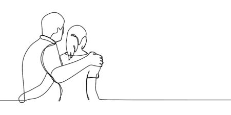 Couple faced back. Man and girl see a house or scenery with one line continuous drawing vector illustration.