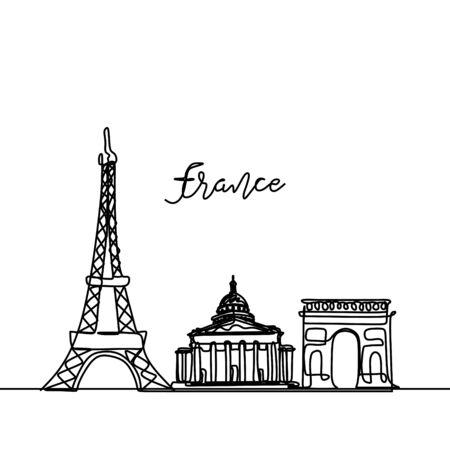 France continuous drawing. One line style Paris city skyline. Simple modern minimalistic style vector
