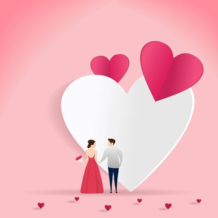 Couple in love vector illustration for valentines day card banner design with heart paper cut art style