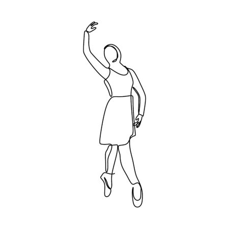Hijab Ballerina one continuous line drawing vector illustration. artistic dance minimalism design.