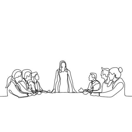 un dessin au trait continu d'un groupe de jeunes en tant que travailleur discutant et discutant lors de la réunion. Une femme en tant que leader prononce un discours.