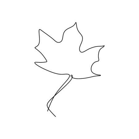 one line drawing of maple leaves one hand drawn lineart design isolated on white background Foto de archivo - 129164274