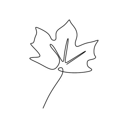 Single one line drawing of maple leaves one hand drawn lineart design isolated on white background Illustration