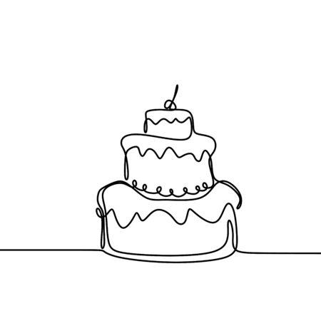 Continuous line drawing Birthday cake with candle. Symbol of celebration happy moment on white background vector illustration minimalism. Illusztráció
