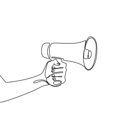 Single one line drawing of horn speaker with hand sign and symbol for announcement and employee hiring