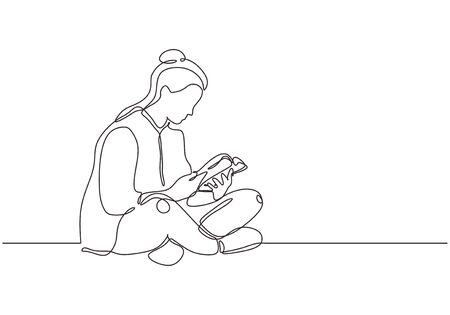 College girl study with reading a book continuous one line drawing, She sitting on the floor and enjoy the education. Иллюстрация