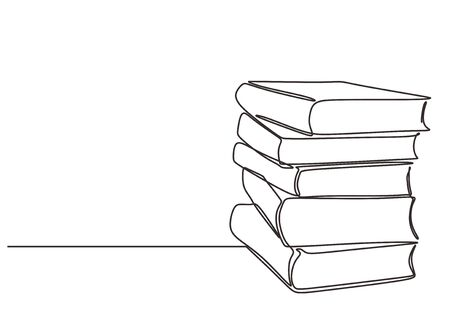 Stack of books on a white background. Continuous one line drawing education supplies vector illustration minimalism Çizim