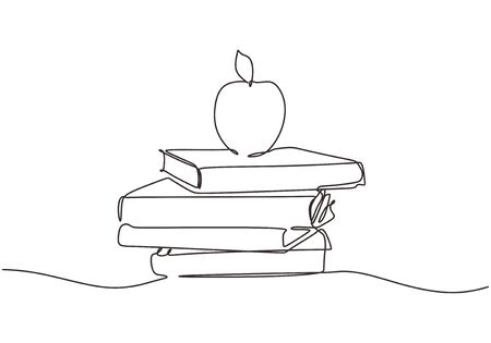 Stack of books and apple on a white background. Continuous one line drawing education supplies vector illustration minimalism back to school theme.