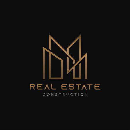 Gold real estate logo icon abstract line minimal design template. Luxury and glory apartment with skyscraper symbol.